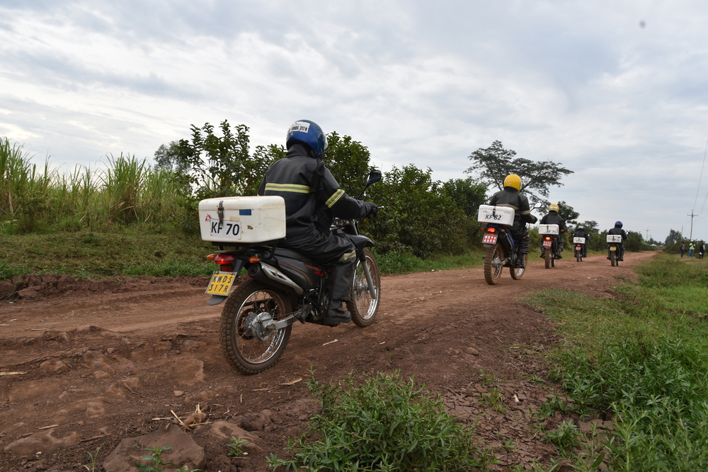 Riders who form part of the sample network of labs riding through one of the areas within Ndhiwa subcounty