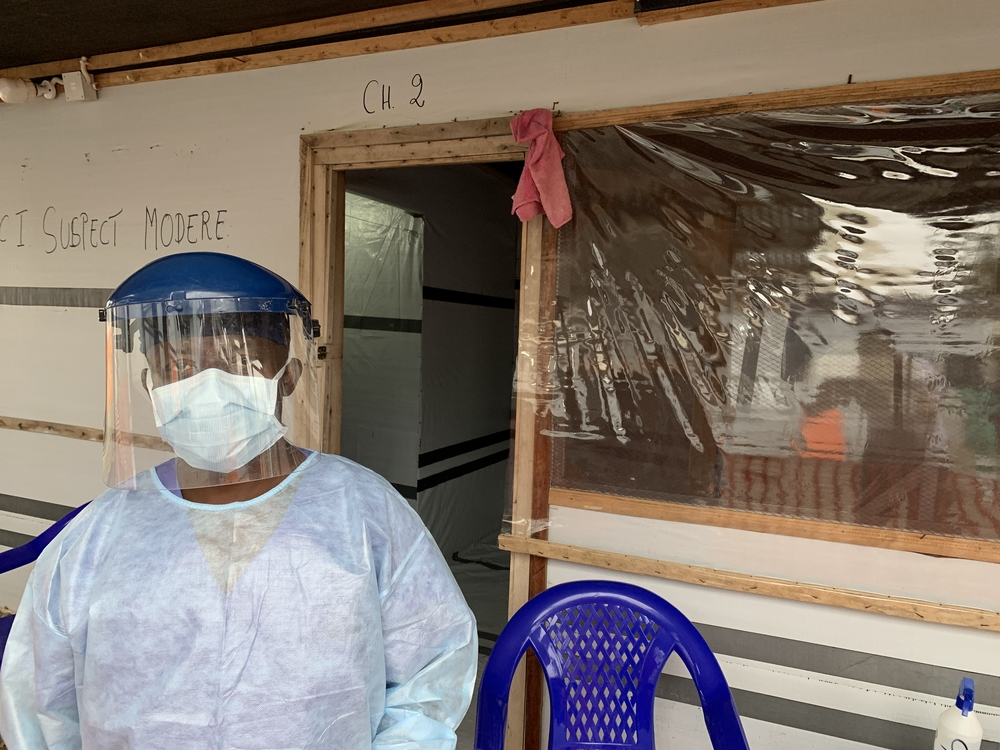 One of the team at the COVID-19 center in Bunia