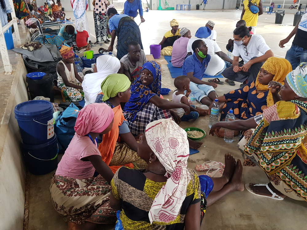 People displaced by violent attacks in Palma who fled into Pemba housed at the stadium