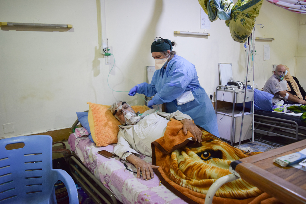 Al-Kindy hospital, in Baghdad, is receiving large numbers of severe and critical COVID-19 patients