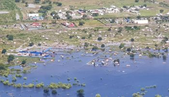 On an aerial assessment from Bor to Pibor, areas can be seen completely submerged by flooding.