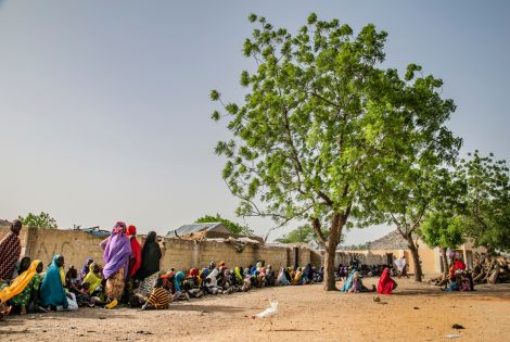 Displaced people wait for a distribution of non-food items (NFIs) in Pulka town. [Igor Barbero / MSF ]