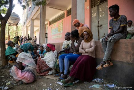 Displaced people wait at Tsegay Berhe school, in the city of Adwa in central Tigray.