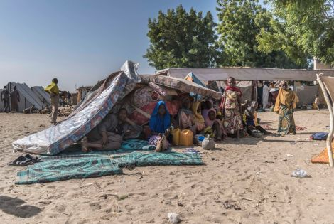 January 2018: A family that's just arrived at the IDP camp in Monguno, north-east Nigeria. [ © Maro Verli/MSF ]