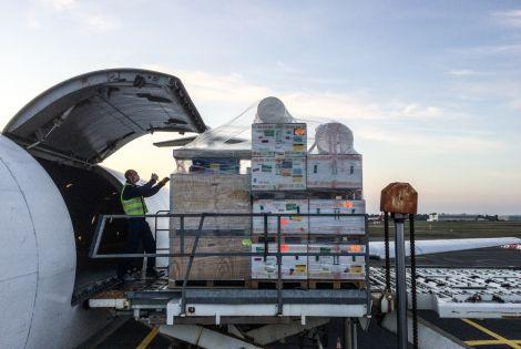 MSF Teams loading medical equipment to be sent to Isaphan, Iran