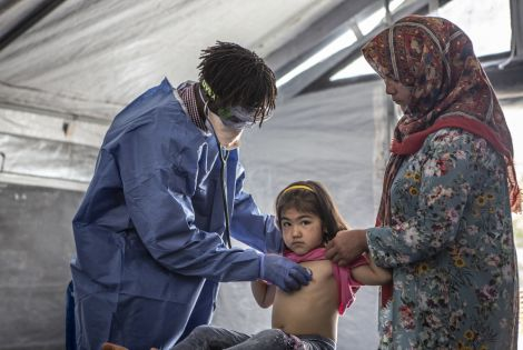 MSF medical staff in Moria, Greece, working in PPE