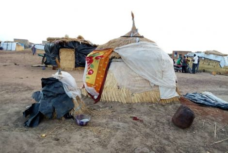 Displaced families live in makeshift shelters in Fada, Eastern Burkina Faso.