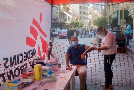 Pierre Badarani at the MSF tent in Mar Mikhael neighborhood