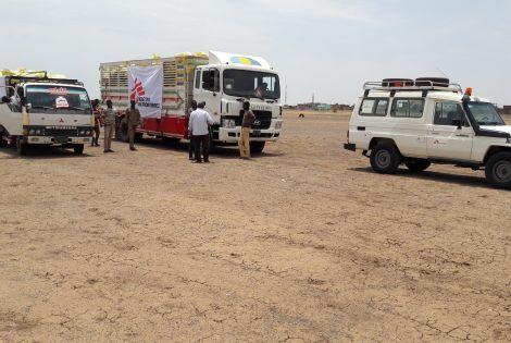 Trucks loaded with NFI kits